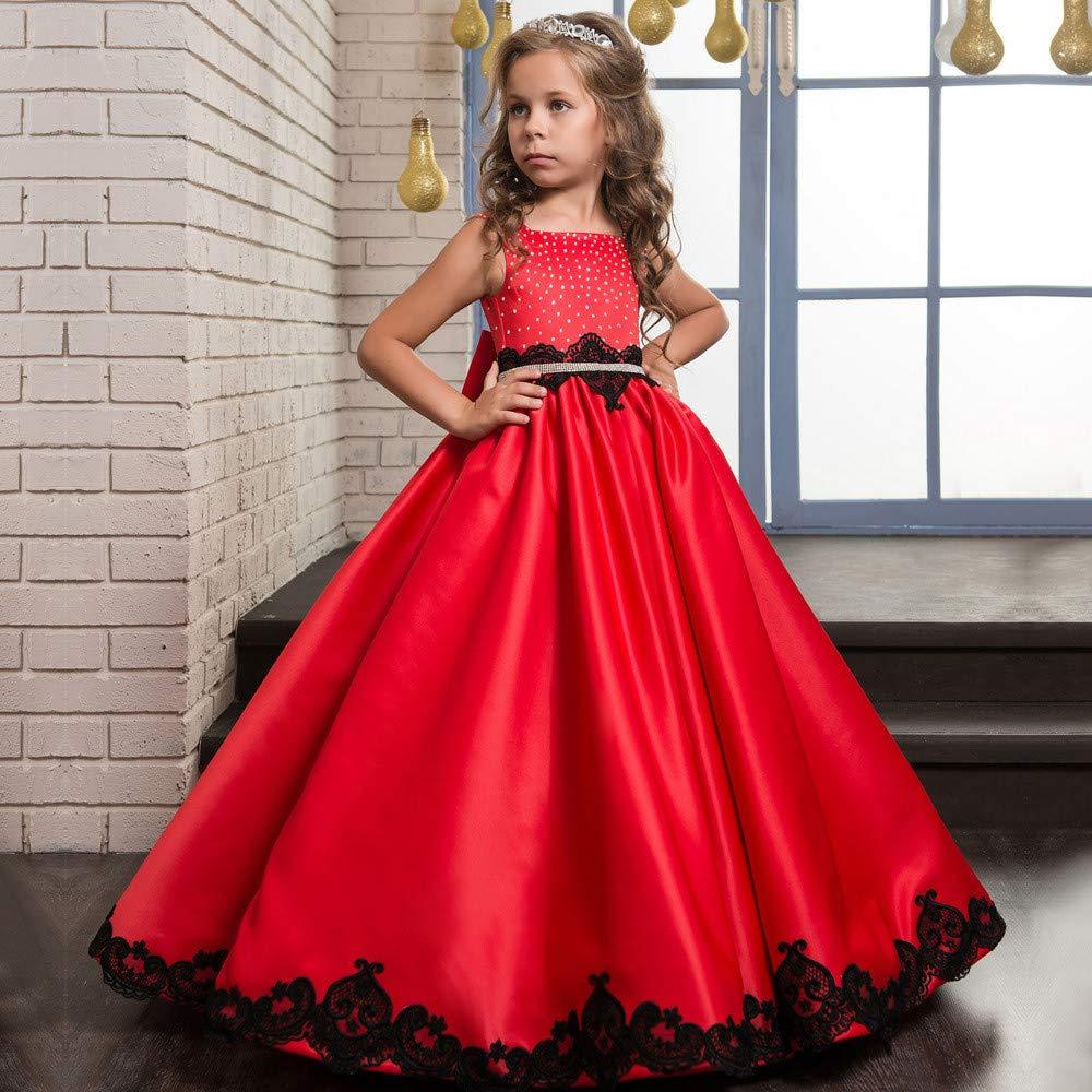 6-7T Maybesky Robe pour Enfant VêteHommests de fête Satin Classic VêteHommests pour Enfants FFaibleer Girl Fluffy mariage Girl Robe de Danse (Taille   4-5T)