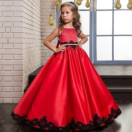 Vestido de Fiesta Vestido de satén clásico para niños Flor de niña Mullida Boda Chica Chica