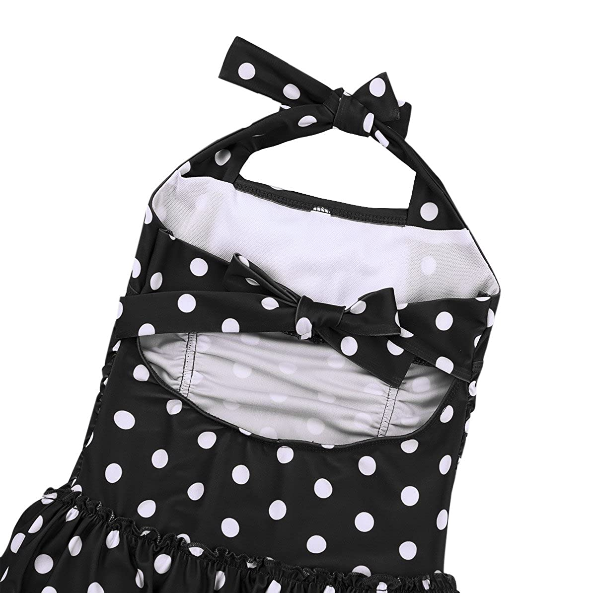 YiZYiF Kids Girls Halter Tie Polka Dots Swim Dress Summer Beachwear Bathing Suits