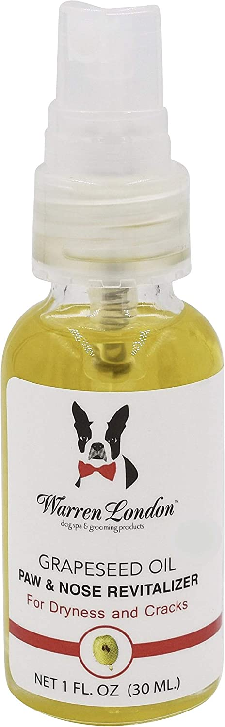 Warren London Grapeseed Oil Paw & Nose Revitalizer, Moisturizer & Conditioner for Dry, Cracked, and Crusty Paw Pads & Noses. Made with Anti-oxidant Rich Premium Essential Oils. Made in USA. 1 Fl Oz.