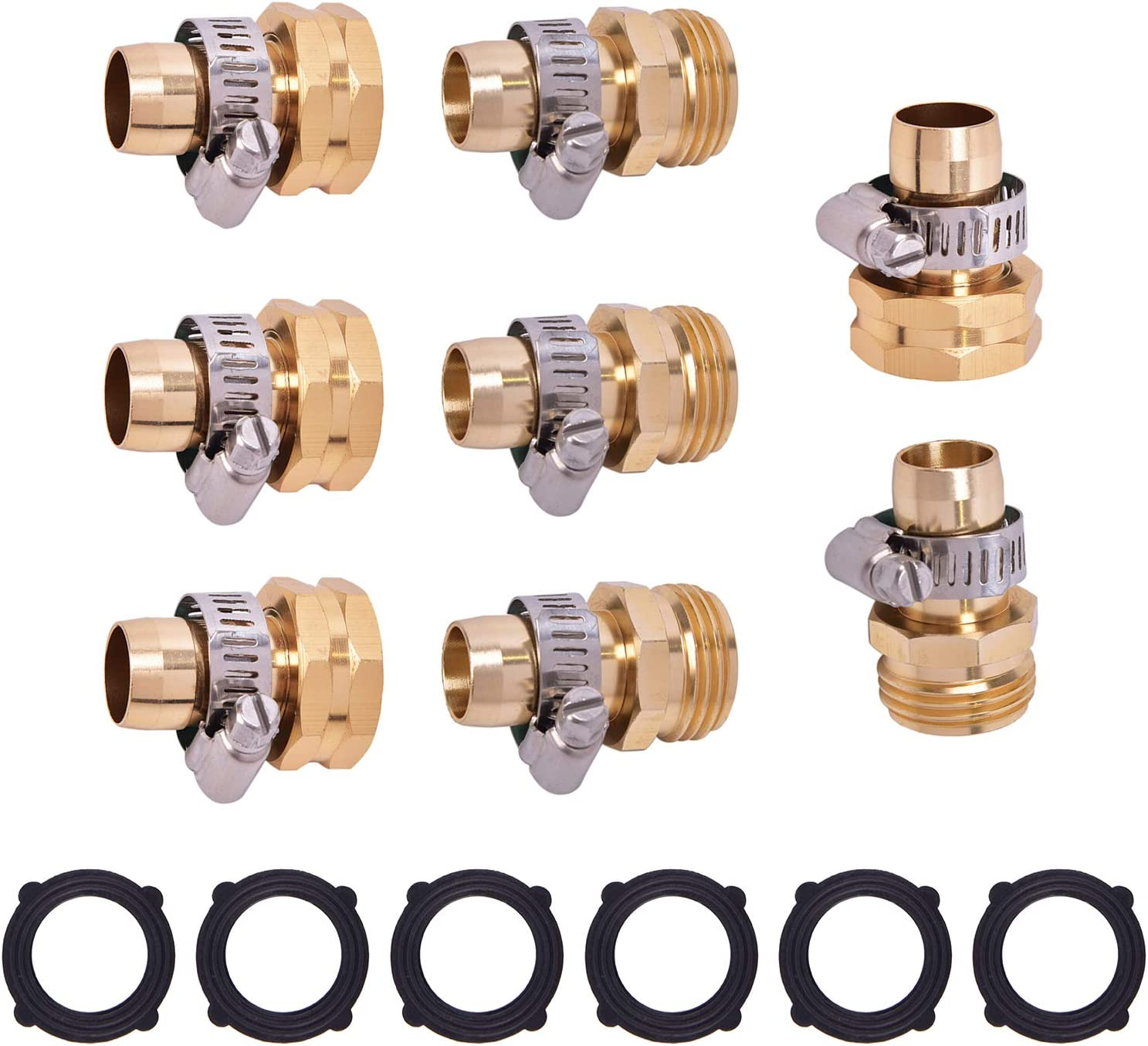 Qukpa Garden Water Hose Repair Connector 4 Kit 3/4 in Male and Female Thread with 8 Clamps and 6 Free Washers to Connect Hose End