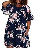 Nemidor Women's Ruffle Sleeve Jersey Knit Plus Size Casual Swing Dress with Pocket