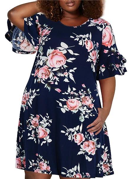 Nemidor Women\'s Ruffle Sleeve Jersey Knit Plus Size Casual Swing Dress with  Pocket