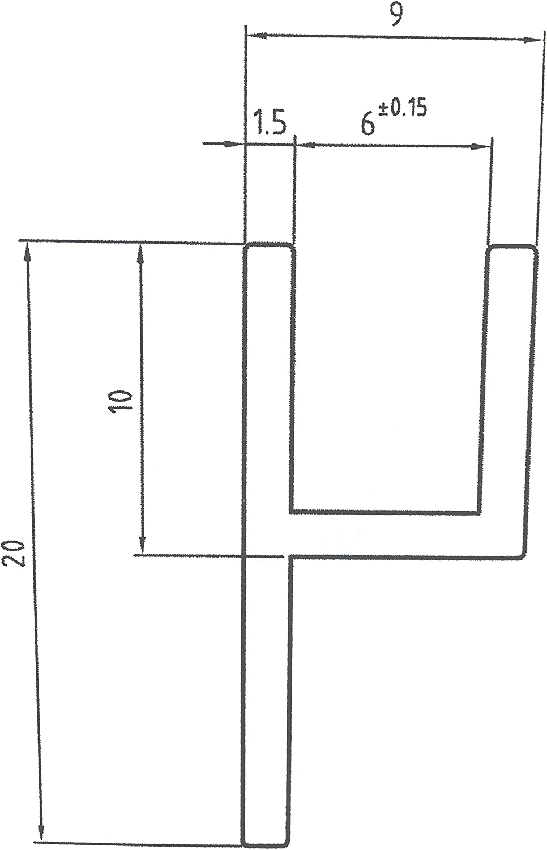 Aluminium h-Profil Eloxiert Alu Schiene Aluprofil 20x10x9x1,5 mm 1000mm