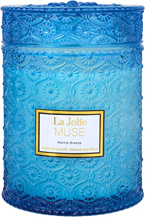LA JOLIE MUSE Marine Breeze Scented Candle, 100% Natural Soy Candle for Home, 90 Hours Long Burning, Large Glass Jar Candles, 19.4 Oz