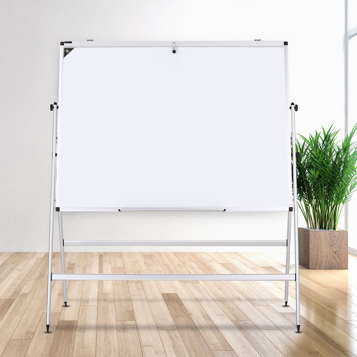 ZHIDIAN Folding Slide Rail Height Adjustment Aluminum Alloy Magnetic Dry Erase Board Easel, Bulletin Board White Boards, Silver Frame (32Hx48W Inches, Horizontal type)