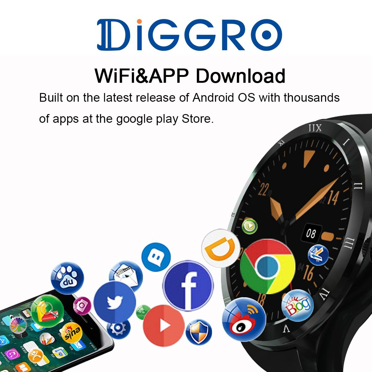 Amazon.com: Diggro DI05 Smart Watch Bluetooth MTK6580 Support WIFI GPS Microphone Speaker 3G Nano SIM Card 1.3GHZ Quad Core RAM/ROM 512MB+8GB 1.39inch ...