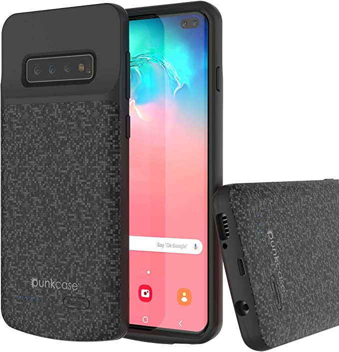 Charging Case Extended Battery for Samsung Galaxy S10+ Rechargeable Battery Backup Power Bank Portable Charger Case Kerter Battery Case for Galaxy S10 Plus - Black 5000mAh