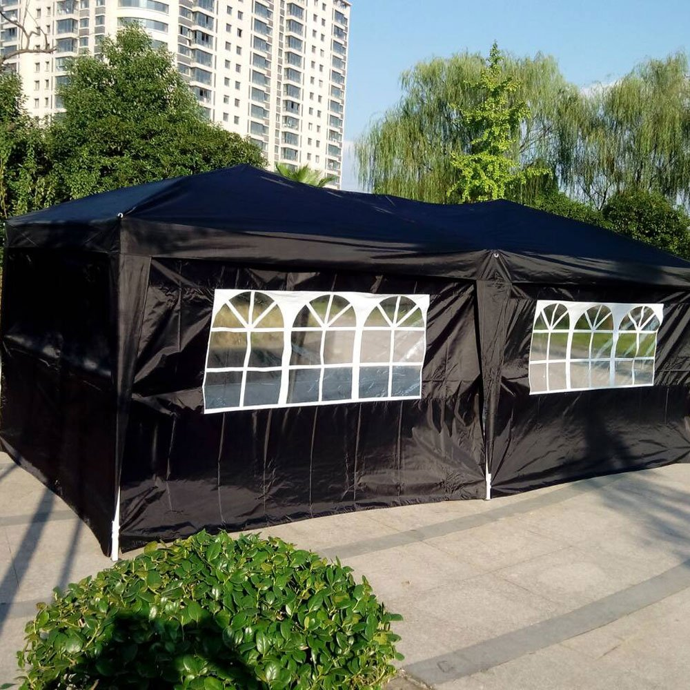 alightup 10 x 20 pies cuatro Windows práctico impermeable plegable carpa boda cenador Gazebo toldo 6 paredes laterales negro: Amazon.es: Hogar