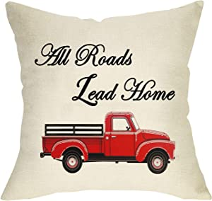 """Softxpp All Roads Lead Home Decorative Throw Pillow Cover, Farmhouse Cushion Case Decor Vintage Red Truck Sign, Square Pillowcase Spring Summer Decor Decorations for Sofa Couch Cotton Linen 18"""" x 18"""""""