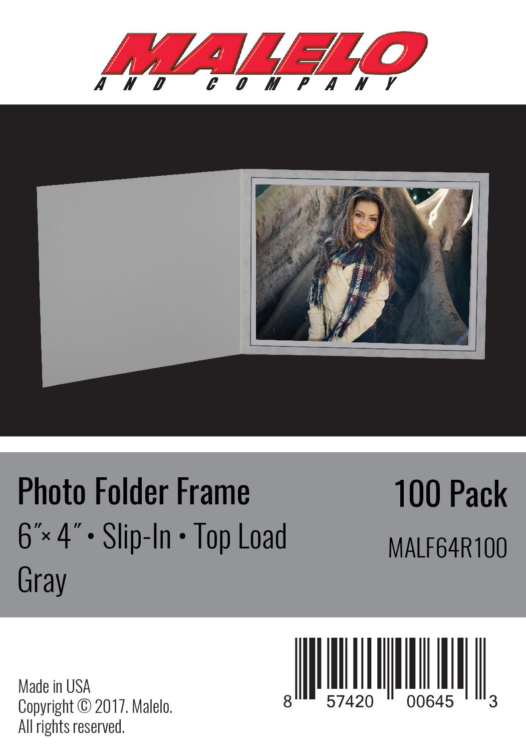 Malelo and Comapny Gray Cardboard Photo Folder Frame 6x4 - Pack of 100