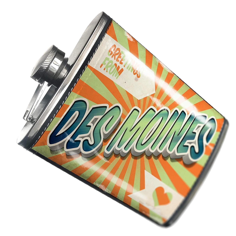 8オンスフラスコステッチGreetings From Des Moines、ヴィンテージはがきステンレススチール – Neonblond   B00QQWGVHC