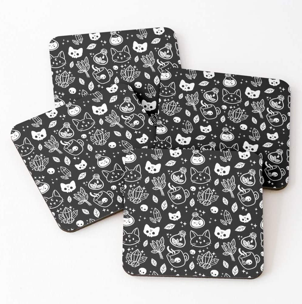 Dsgew Herb Witch丨black White Drink Coasters-Absorbent Coasters With Cork Base, Living Room Decoration, Creative Gifts, Heat Resistance 4x4x0.15inch 4pcs