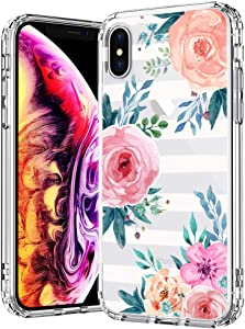 for iPhone X Case, MOSNOVO Blossom Stripes Floral Flower Crystal Clear Cases Design Shock Absorption Bumper Soft TPU Women Girl Cover Case for iPhone Xs