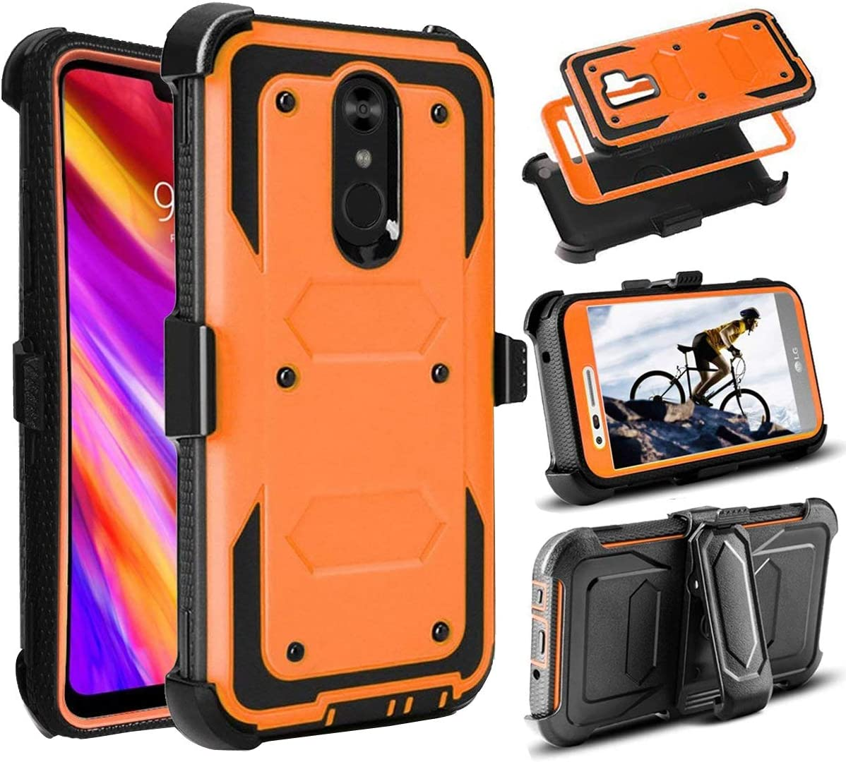 LG Stylo 4 / Stylo 4 Plus/LG Q Stylus Case, Shockproof Full Body Rugged Holster Armor Protective Case Cover with Kickstand and Swivel Belt Clip Built-in Screen Protector for LG Stylo 4 (Orange)