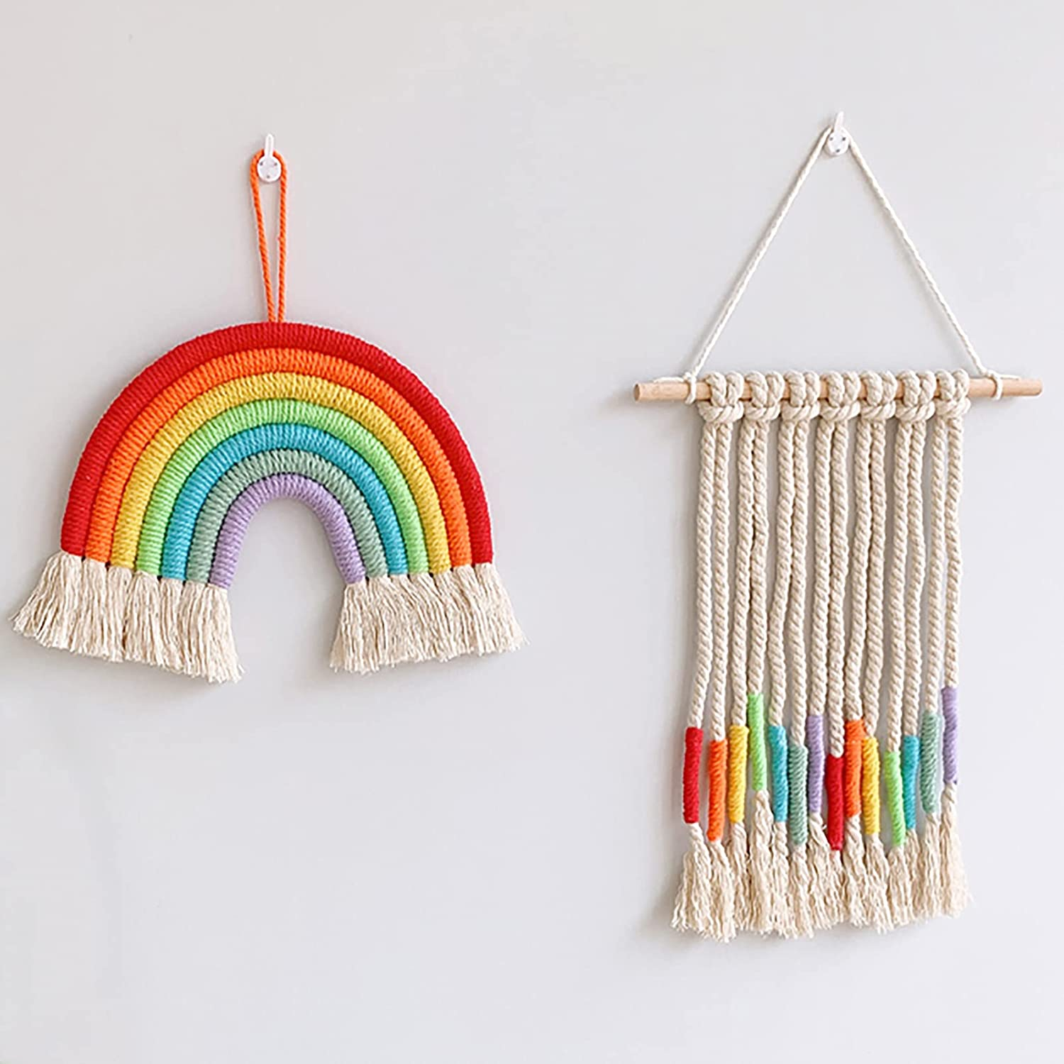 Easever Macrame Wall Hanging, Rainbow Decor Set of 2, Colorful Handmade Boho Bohemian Wall Décor for Nursery Kids Baby Room, Bedroom, Living Room, Ideal gift for baby shower or Birthday Party Supplies