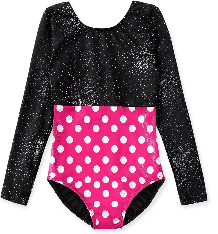 Gymnastics Leotards for Girls Long Sleeve Biketard Red Hot Pink White Polka Dots