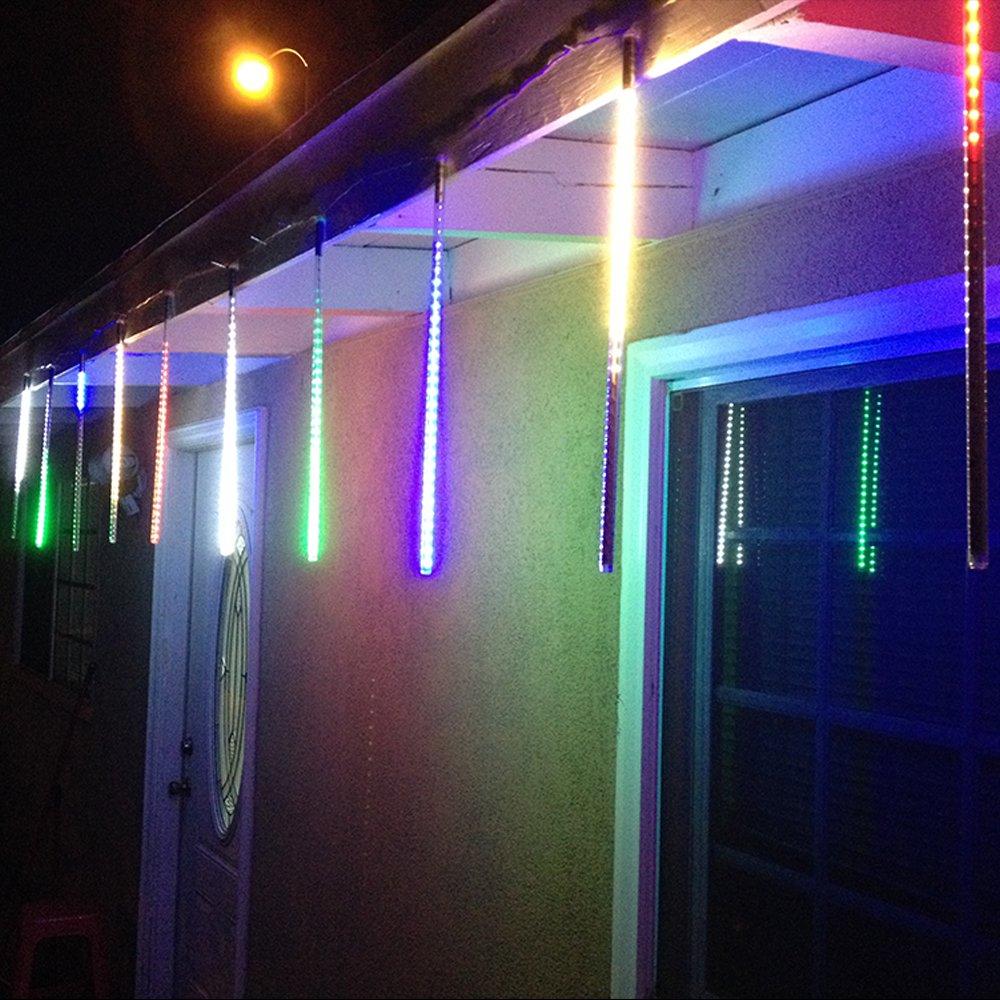 Alion Home LED Meteor Shower Waterproof Rain SMD Tubes Lights for Outdoor, Garden, Tree Decor (50 Tubes 50 FT, Multi Color)