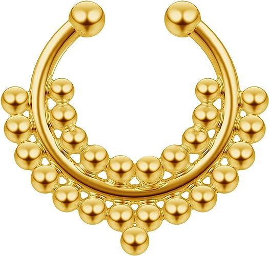 Tribal Septum Ring Fake Septum Piercing Gold Nose Ring Tribal Nose Ring Brass Septum Ring Indian Septum Ring Fake Septum Ring