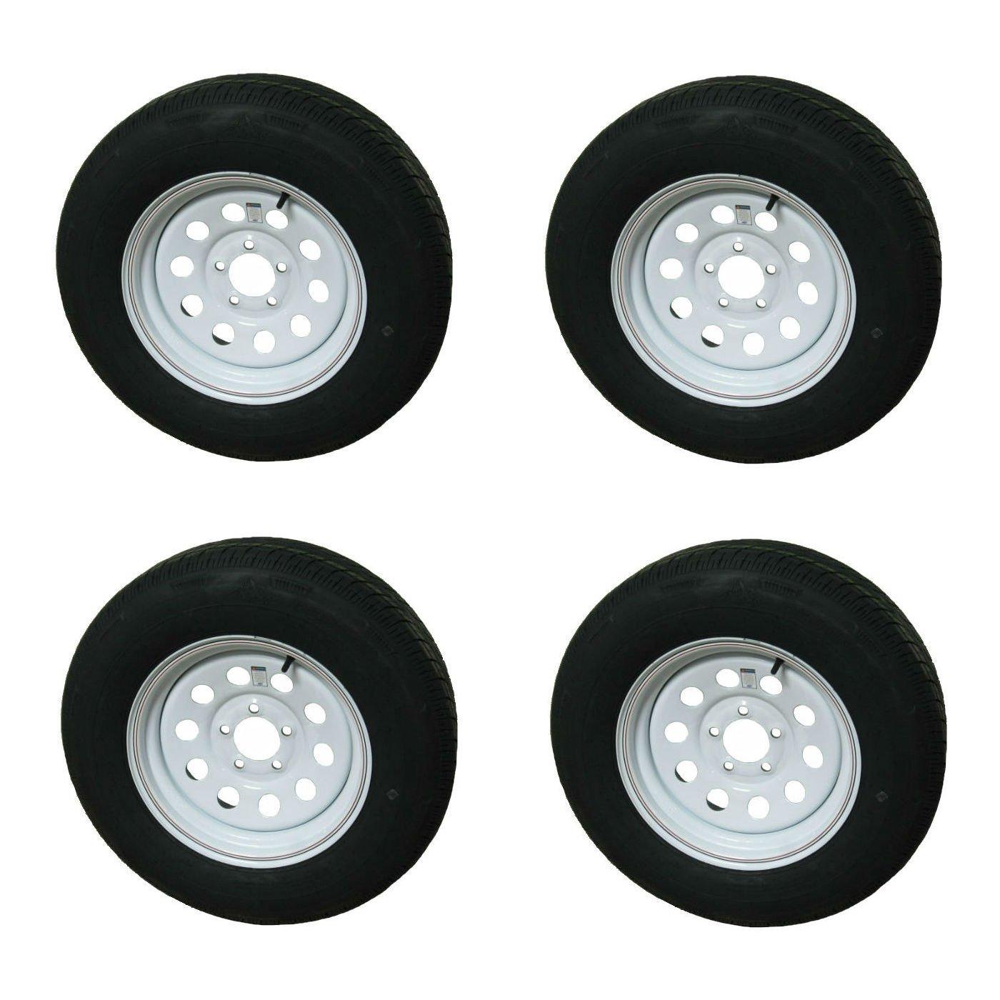 4 pack - Rainier ST205/75R15 LRD Radial Trailer Tires & Wheels White Mod w/ Stripes 5-4.5