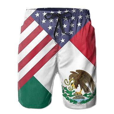 ac889579b3 USA Mexico Flag Men's Quick Dry Beach Board Shorts Summer Swim ...