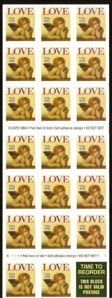 LOVE Cherub Full Unfolded Booklet Pane of 20 x 32 Cent Stamps Scott 2949a