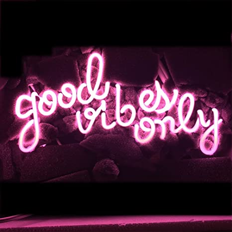 Good Vibes Only Neon Art Sign Real Glass Handmade Visual Artwork Home Decor Wall Light