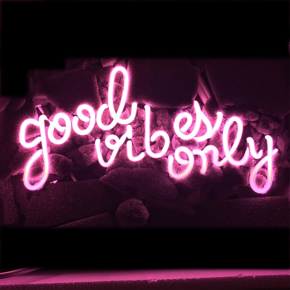 Good Vibes Only Neon Art Sign Real Glass Handmade Visual Artwork Home Decor Wall Light Real Glass Neon Light Sign Home Beer Bar Pub Recreation Room Game Lights Windows Garage Wall Signs16''x8.5'' (PINK