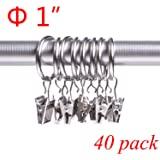 Jund 40 Pack Curtain Clips Rings 1 Inch Interior Diameter Strong Metal Decorative Drapery window Curtain Ring with Clip Rustproof Silver