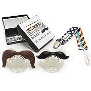 B.B. Mustache Pacifier 2-Pack with Pacifier Clip by Bodacious Bambino | The Horseshoe & Handlebar - Cute & Funny Pacifiers for Babies | BPA-Free