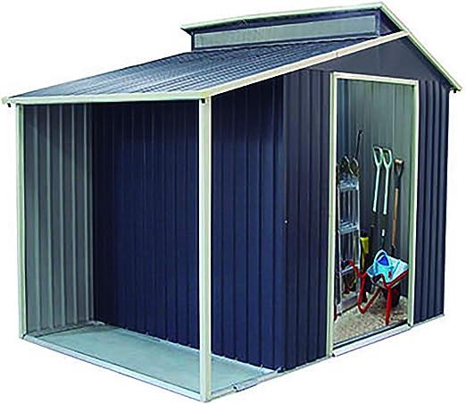 Gardiun KIS12989 - Caseta Metálica Marlow Con Porche 6, 85 m² Exterior 193x355x237 cm Acero Galvanizado Gris Antracita: Amazon.es: Jardín