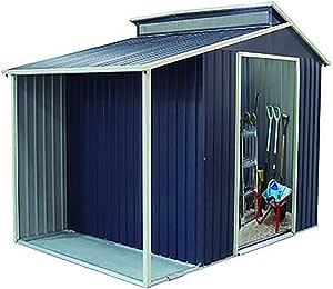Gardiun KIS12989 - Caseta Metálica Marlow Con Porche 6,85 m² Exterior 193x355x237 cm Acero Galvanizado Gris Antracita