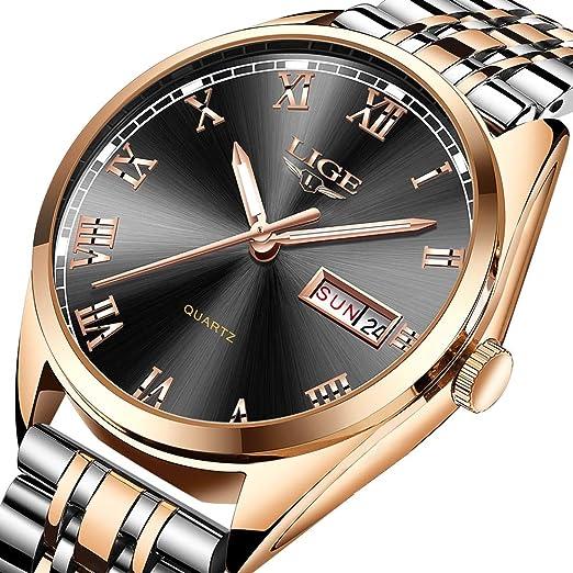 LIGE Relojes para Hombre Moda Deporte Militar Reloj de Cuarzo Banda de Acero Inoxidable Resistente al Agua 30 M con Calendario Fecha Vestido Reloj para ...