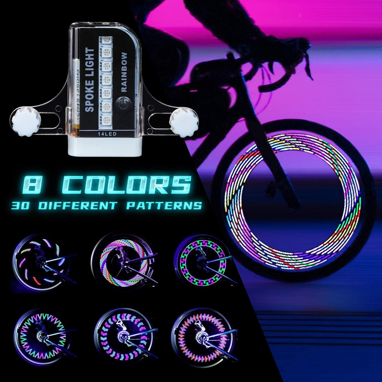 Bicycle Wheels Spoke Lights Night Riding USB Rechargeable Wire Lamp Useful