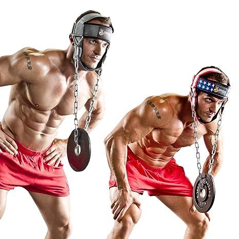 DMoose Fitness - Arnés para la cabeza del cuello para entrenamiento de resistencia. Anillos en D y cadena de acero, neopreno de ajuste cómodo, ...