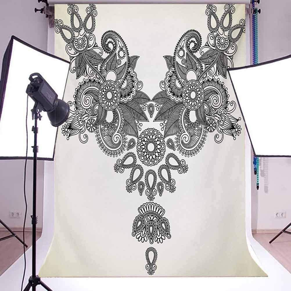 Far Vintage Fashion Ornamental Paisley Abstract Artwork with Oriental Effect Background for Baby Shower Birthday Wedding Bridal Shower Party Decoration Photo Studio 6.5x10 FT Photography Backdrop