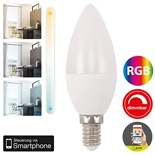 Briloner Leuchten – WiFi LED Bombilla RGB, regulable y temporizador Via App, Amazon Echo