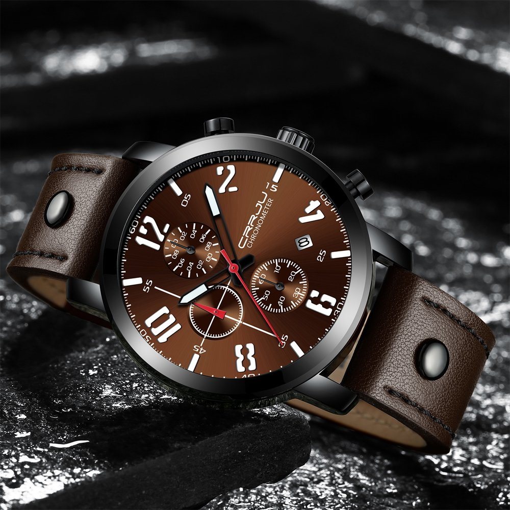 Amazon.com: CRRJU Mens Waterproof Chronograph Business Wrist Watch, Luxury Army Date Analog Quartz Gift Watch for Men: Watches