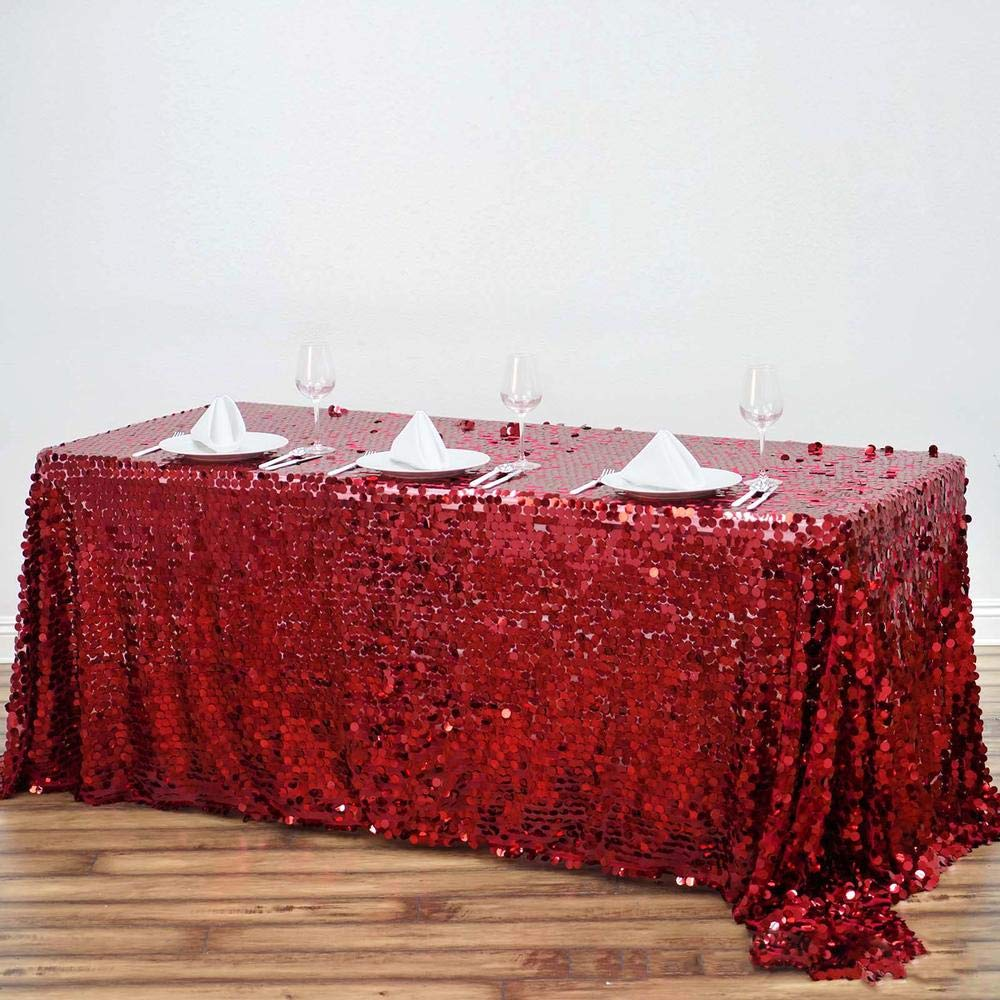 Efavormart 90X156 Burgundy Premium Big Payette Sparkly Sequin Rectangle Tablecloth for Wedding Party Kitchen Dining Catering Party