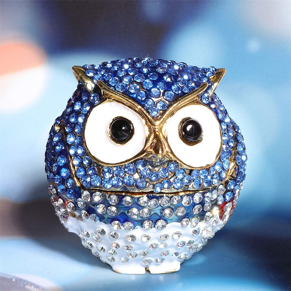 Waltz&F Diamond Light Blue Owl TrinketBox Hinged Hand-painted Figurine Collectible Ring Holder