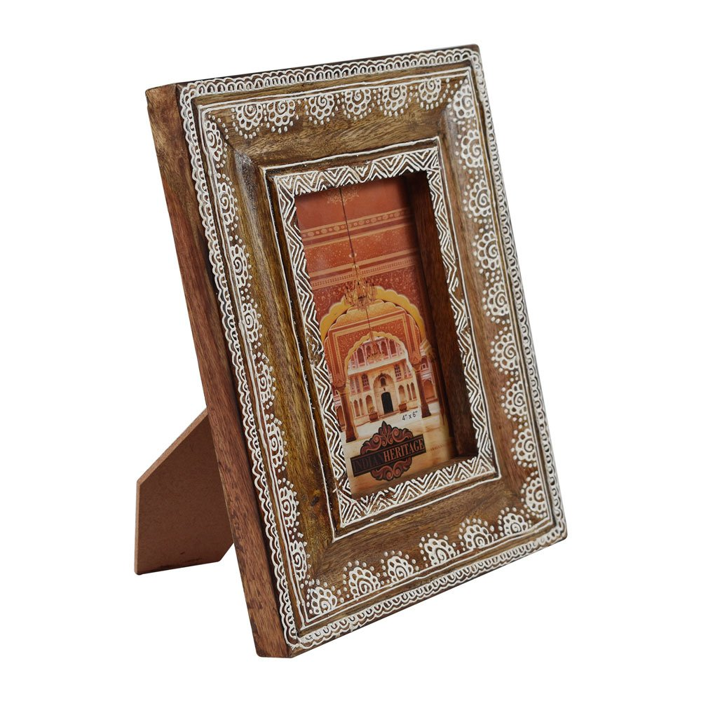 Indian Heritage Wooden Photo Frame 4x6 Mango Wood in Dark Wood Finish with White Henna Painting Design