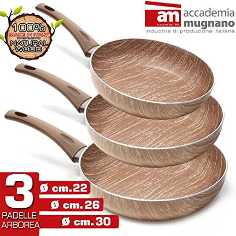 Accademia Mugnano – Juego 3 Sartenes Arborea antiadherentes revestimiento efecto madera natural wood cm 22 –