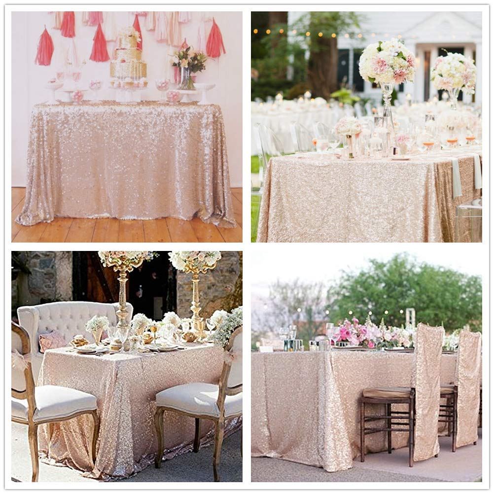 SoarDream Sequin Tablecloth 50x80 inch Champagne Blush Glitter Tablecloth Wedding Table Linen by SoarDream (Image #3)