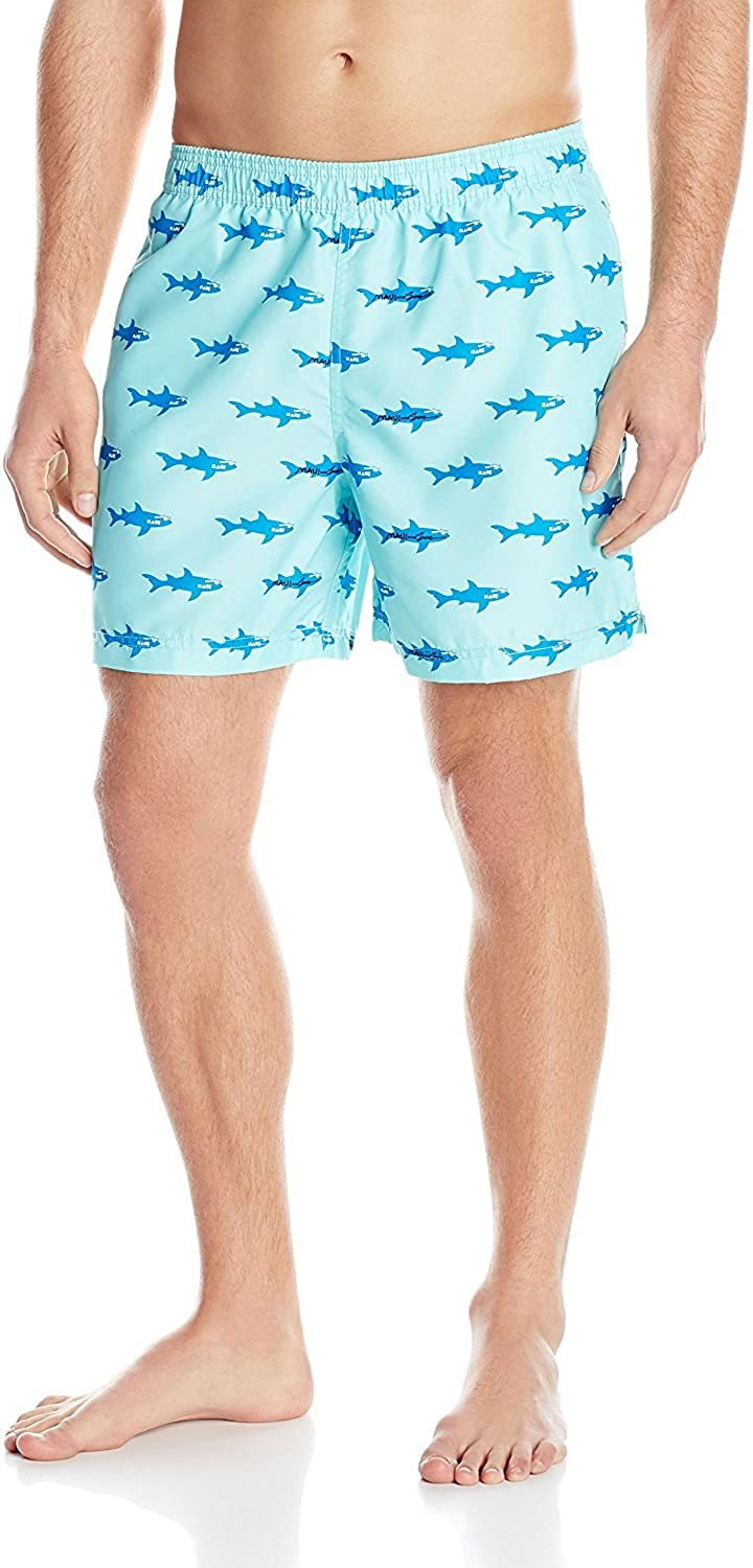 Maui & Sons Men's Classic Shark Swim Trunk