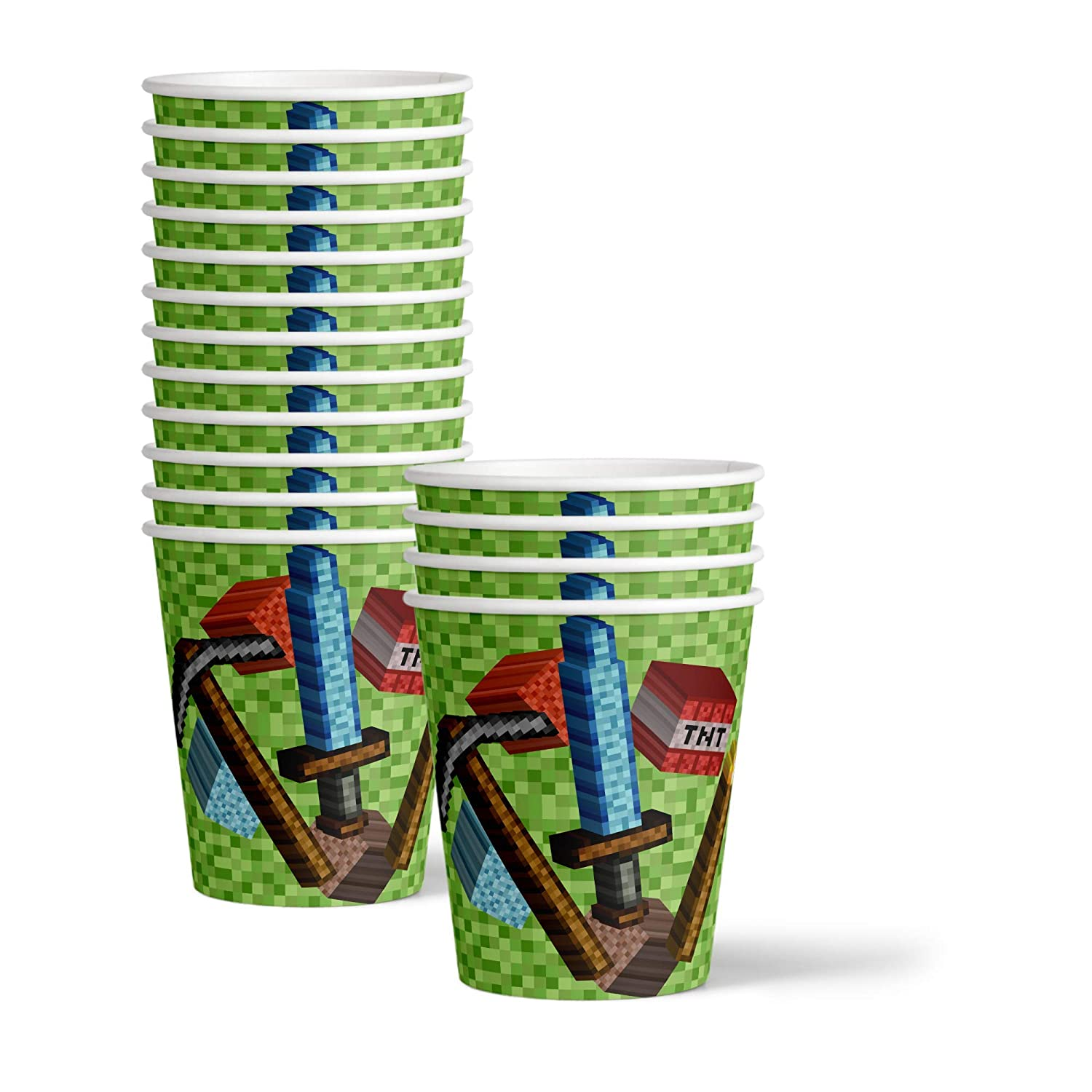 Mining Pixel World Birthday Party Supplies Set Plates Napkins Cups Kit for 16 by Birthday Galore