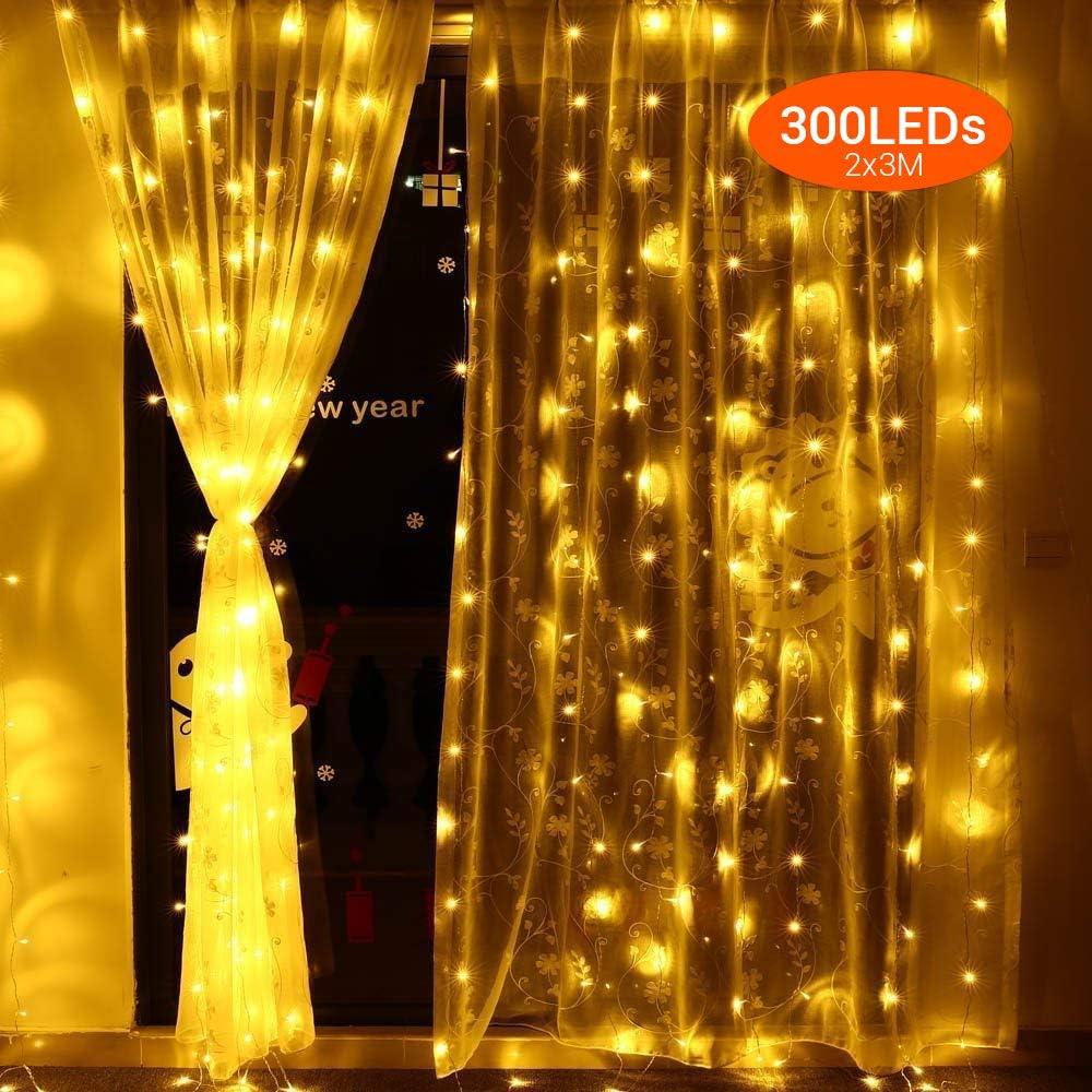 Elgear Cortina de Luces LED 2 * 3M 300LED luces de cortina End-to-End IP44 Impermeable, 8 Modos, Blanco Cálido para Fiestas, Bodas, Casa, Jardín, Decoración Navidad, etc.(2m*3m)