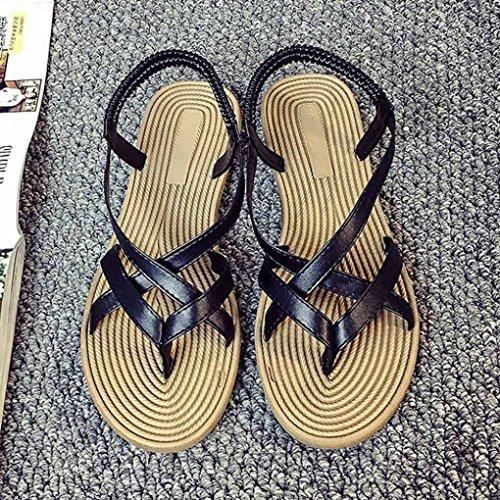Rawdah Mujer zapatos planos vendaje Bohemia ocio mujer sandalias Peep-Toe zapatos al aire libre Negro