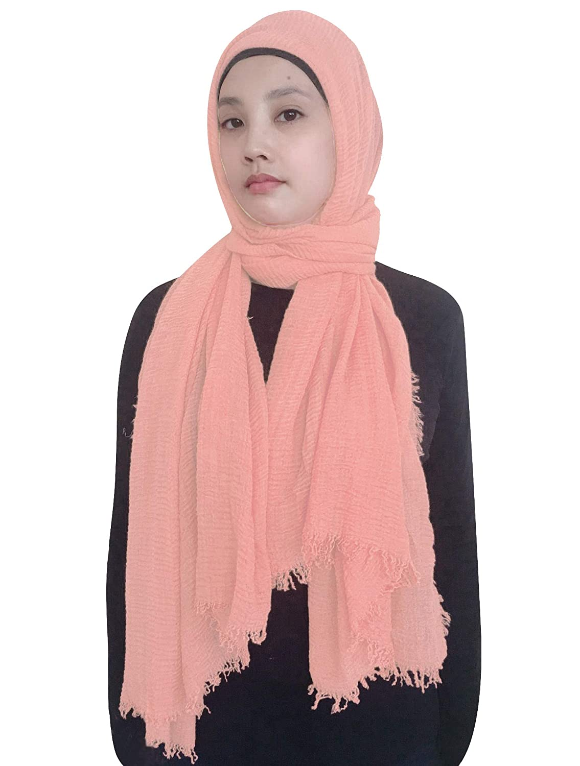 Lina & Lily Solid Color Crimp Crinkle Scarf Hijab with Frayed Edges (Army Green)