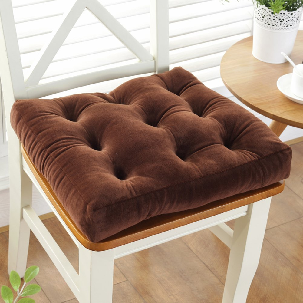 YXDDG Square Cotton Chair Cushion Seat Chair Cushion Suitable for Office, Study, Dining Room, Living Room, Student, 11 Colors-Brown 48x48cm(19x19inch)