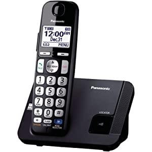 Panasonic Amplified Cordless Phone KX-TGE210B DECT 6.0 with Enhanced Noise Reduction - 1 Handset (Black/Silver)